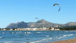 Kite Surfers In Pollenca Bay, Mallorca Island Footage