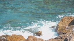Sea Waves Breaking Into Rocks Footage