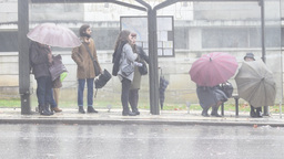 People at bus shelter in heavy rain Coimbra Portugal Footage