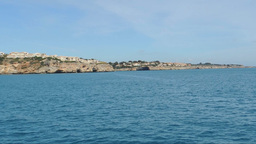 Entering Portocristo Bay By Boat Footage