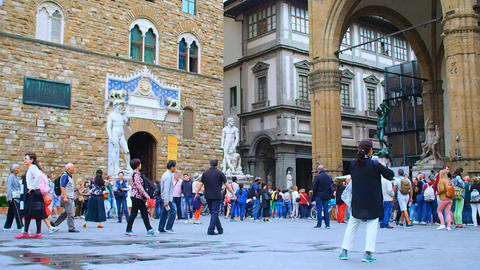 Palazzo Vecchio, Palazzo Pitti and Loggia dei Lanzi, Florence Footage