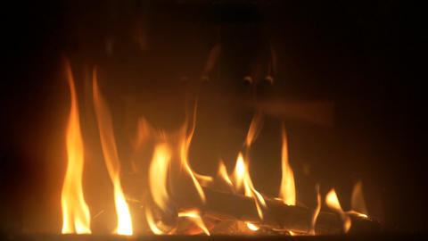 Burning wood in a fireplace Footage