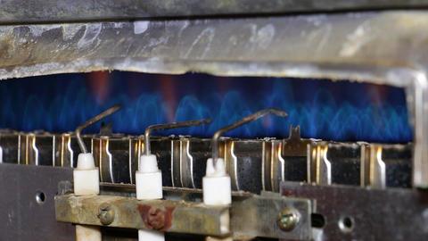 Ignition gas furnace closeup Footage