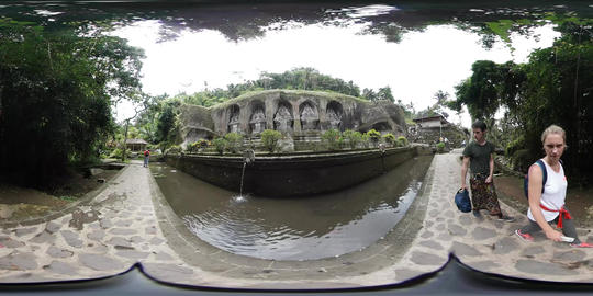 360VR video in front of Gunung Kawi Temple in Ubud, Bali Footage