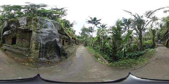 360VR video at small waterfall at Gunung Kawi Temple in Ubud, Bali Footage