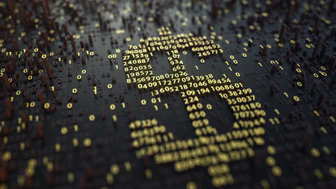 American dollar USD symbol made of golden numbers. Currency or forex related Footage