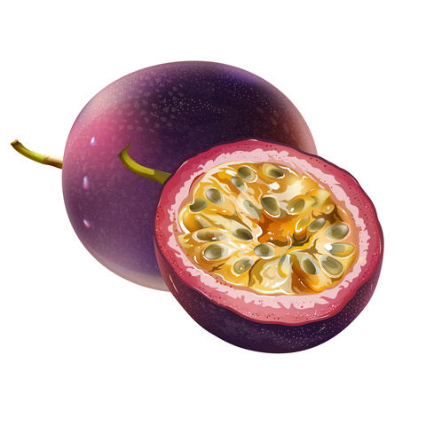 Passionfruit on white background フォト