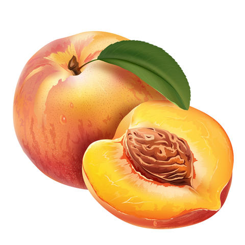 Peach on white background フォト