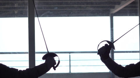 Fencing Match Silhouette Footage