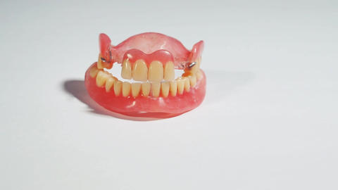 Dentures, removable false teeth made of acrylic Footage