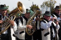Brass-band performing Romanian folk music on wind instruments Photo