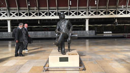 Statue of Isambard Kingdom Brunel at Paddington Station by John Doubleday UK Footage