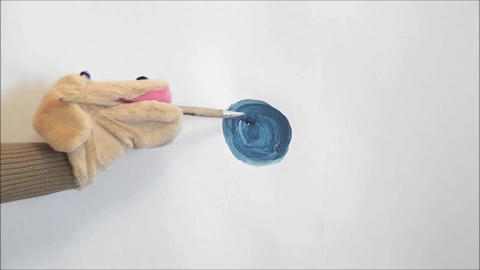 toy dog draws a circle Footage