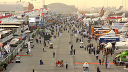 Dubai Air Show static exposition, general view, crowded trade exhibition area Footage