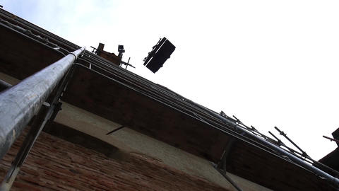 Crane Installed On A Metal Scaffold Climb A Metal Platform With Needful Material stock footage