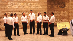 Men's Folklore Choir Signing Traditional Croatian Songs in Old Town Split Footage