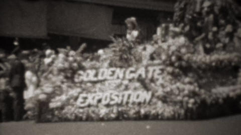 1945: Golden Gate Exposition WW2 victory flower covered parade float Footage