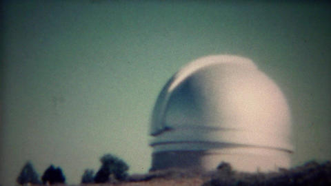1956: Round space telescope observatory shining in sunshine Footage