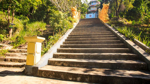 Camera Moves up Stone Steps among Trees to Pagoda Footage