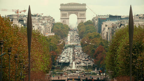 PARIS, FRANCE - OCTOBER 8, 2017. Car traffic jam near famous Arc de Triomphe or Footage