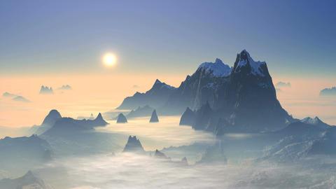 Sunset Over Mountain Peaks Animation