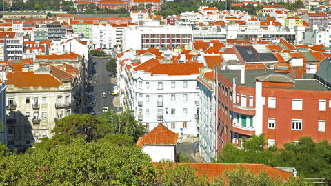 Aerial View Of Lisbon City In Portugal Footage