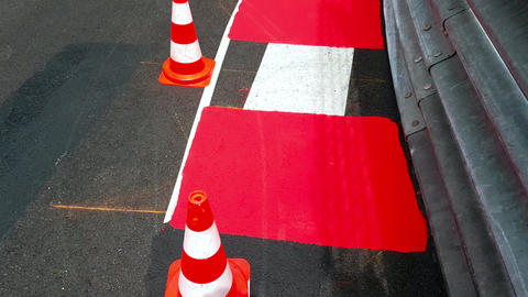 Formula 1 Surface With Traffic Cones in Monaco Archivo