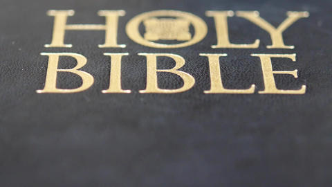 Open holy bible with sun light Footage