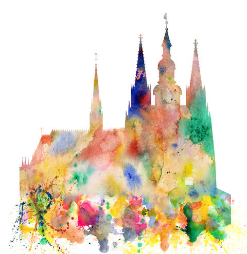 Cathedral of Saint Vitus in the Prague Castle Watercolor Art フォト