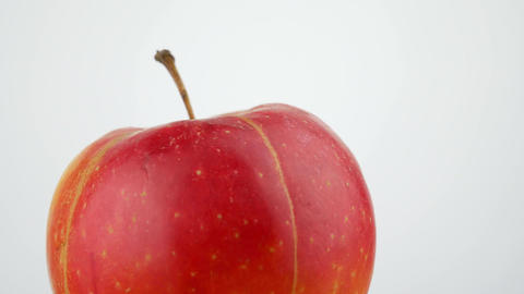 Fresh Juicy Yellow Red Apple Rotating on White Background Isolated Footage