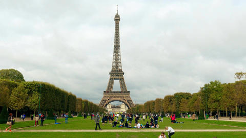 PARIS, FRANCE - OCTOBER 7, 2017. Iconic shot of crowded Champ de Mars the Eiffel Footage
