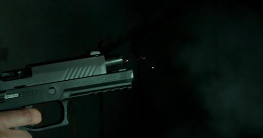 Hand Firing Pistol Closeup Footage