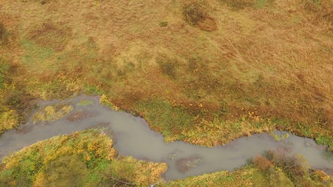 Aerial Shot Of autumn forest field small river Footage