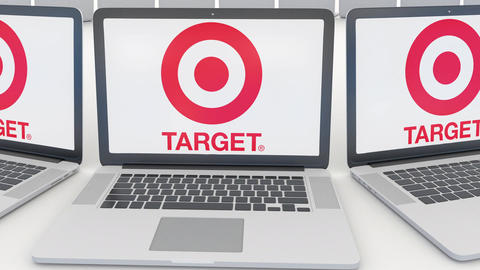 Laptops with Target Corporation logo on the screen. Computer technology Footage