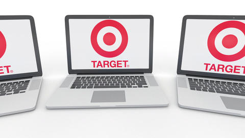 Notebooks with Target Corporation logo on the screen. Computer technology Footage