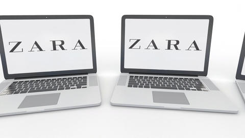 Notebooks with Zara logo on the screen. Computer technology conceptual editorial Footage