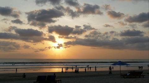 Time lapse sunset at beach of Kuta, Bali Footage