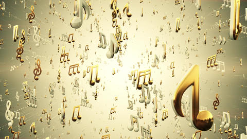 Music Notes Abstract Loop Background Gold Animation