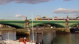 Helicopter arriving at London Heliport Battersea London UK Footage