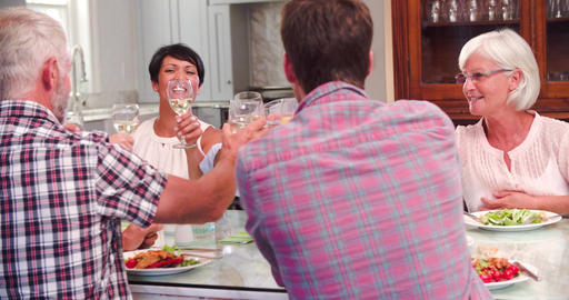 Group Of Friends Enjoying Meal At Home Together Footage