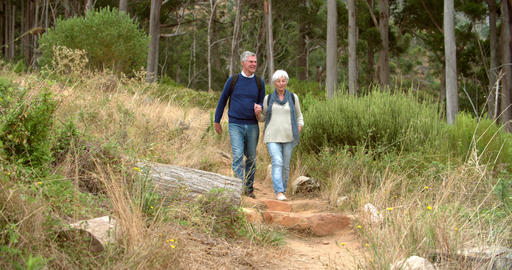 Senior couple walking towards the camera on rural path Footage