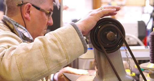 Bespoke Shoemaker Stitching Together Leather Pieces For Shoe Footage