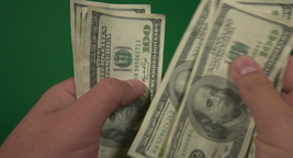 The Currency Of The United States. Dollars In Hands Against Green Background stock footage