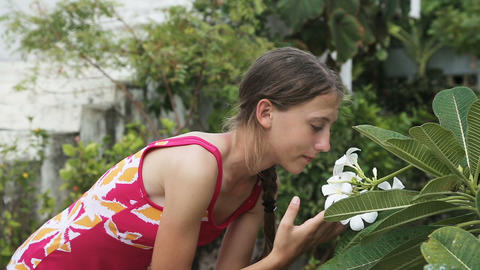 young girl smelling flower on branch Footage