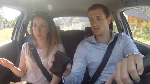 Couple In Car Texting Sms stock footage
