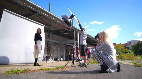 Open air fashion photo shooting with blue sky Footage