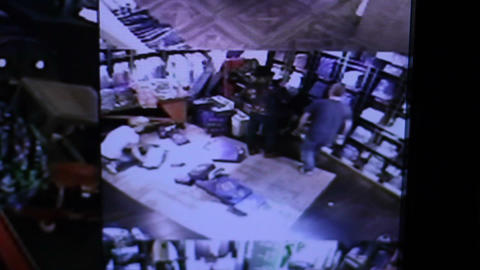 Surveillance camera movements in a store Footage