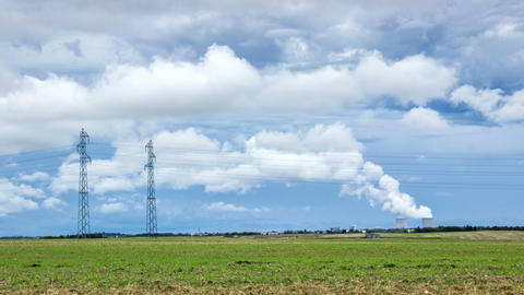 Time Lapse Of A Nuclear Power Plant In French Countryside stock footage