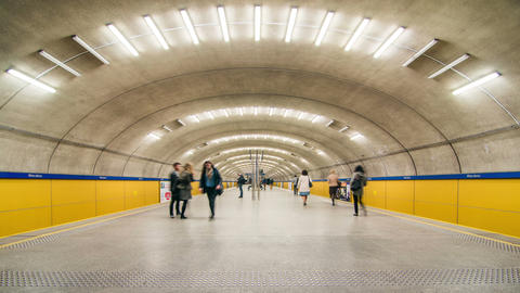 Time lapse of a subway station Footage