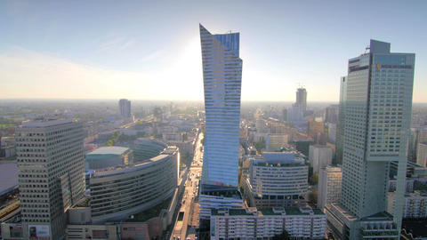 Cityscape Pan Of The Center Of Warsaw stock footage